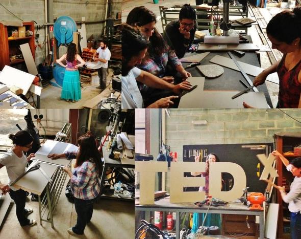 Equipe Tedxjardins construindo logo TEDx